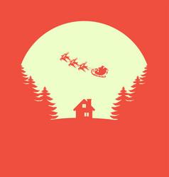 Christmas greeting card santa claus with reindeer vector