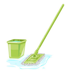 Clining equipment mop and bucket vector