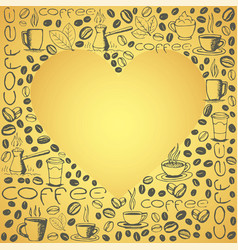 coffee doodles background with heart shape inside vector image