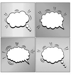 Comic speech bubbles monochrome set vector