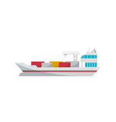 Container ship loading in port isolated icon vector
