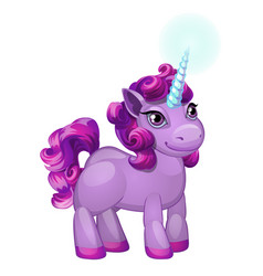 Cute unicorn pony with a purple mane isolated vector