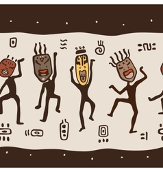 Dancing figures wearing African masks vector image