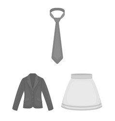 different kinds of clothes monochrome icons in set vector image