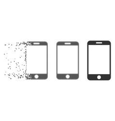 Disintegrating pixel halftone smartphone icon vector