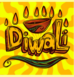 diwali concept background hand drawn style vector image