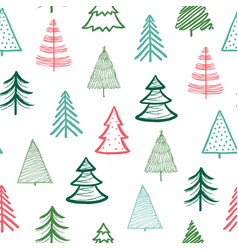 doodle fir-tree pattern christmas tree handmade vector image