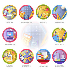 education and science disciplines for school or vector image