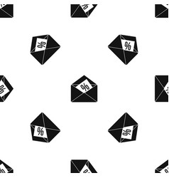 envelope with percentage pattern seamless black vector image