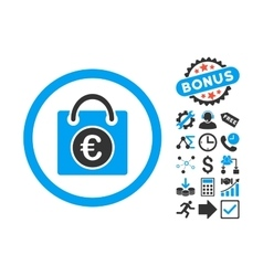 Euro Shopping Bag Flat Icon with Bonus vector