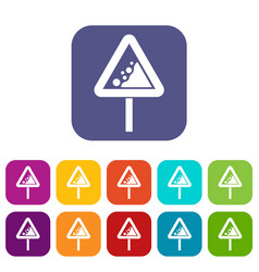 Falling rocks warning traffic sign icons set vector