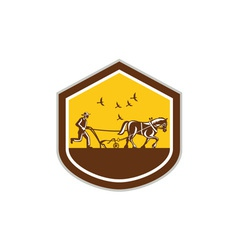 Farmer and Horse Plowing Field Shield Retro vector image