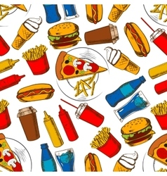 Fast food lunch seamless pattern background vector image