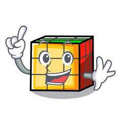 Finger rubik cube mascot cartoon vector