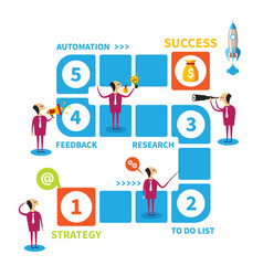 Five steps to success concept in flat style vector