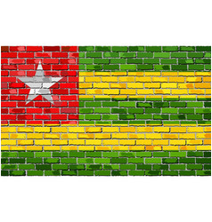 Flag of togo on a brick wall vector