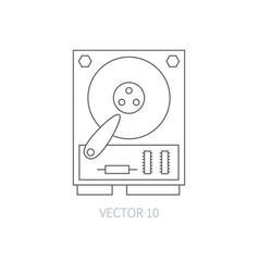 flat line computer part icon - hard drive vector image