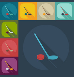 Flat modern design with shadow icons hockey vector