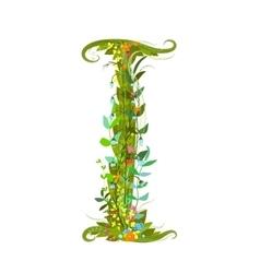 Flower letter I calligraphy floral elegant vector image