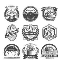 Flower studio vintage isolated label set vector