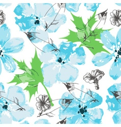 Fresh floral paint seamless pattern vector