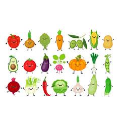 funny cartoon set of different vegetables kawaii vector image