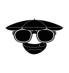 Funny face cartoon with sun glasses vector