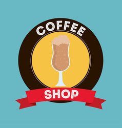 Glass of coffee shop design vector