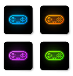 glowing neon gamepad icon isolated on white vector image