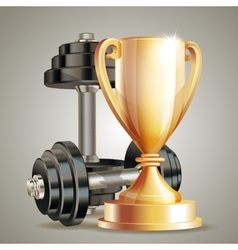 Gold cup with metal realistic dumbbells vector image vector image