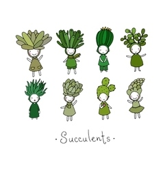 Graphic set with cute cartoon succulents vector