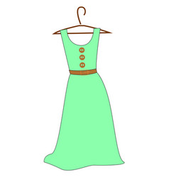 green dress on white background vector image