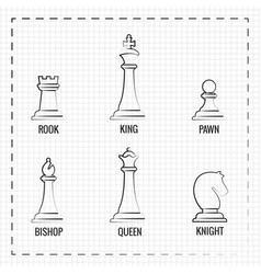 Hand drawn chess pieces line icons vector