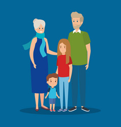 Happy grandparents together with girl and boy vector