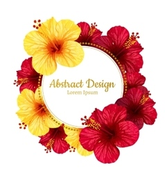 hibiscus flower invitation card vector image