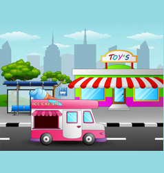 Ice cream truck in front of the toy shop near a st vector
