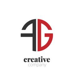 initial letter fg creative elegant circle logo vector image