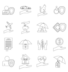 Insurance icons set outline style vector