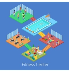 Isometric Gym Fitness Club Sport Center Interior vector image