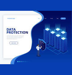 Isometric personal data protection web banner vector