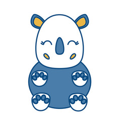 Kawaii rhino icon vector