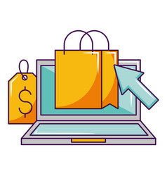 laptop online shopping bag tag price vector image