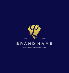 Letter l diamond gold logo design vector