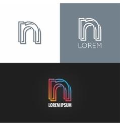 letter N logo alphabet design icon set background vector image