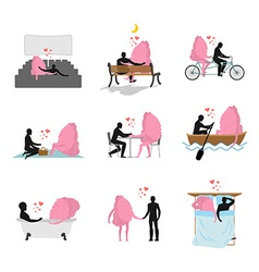 Love and brain set Man and mind in movie theater vector image