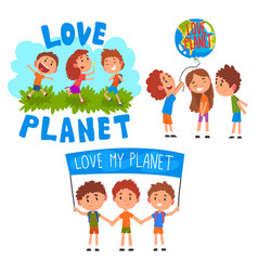 Love my planet little children playing and taking vector