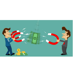 magnet attracts money and coin vector image