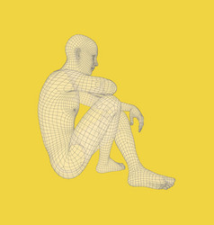 Man in a thinker pose 3d model of man human body vector