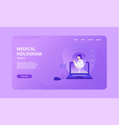 Medical hologram hero image template vector
