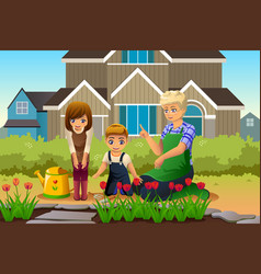 mother and children gardening during spring season vector image